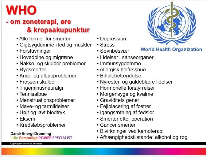 Bilag 6. WHO liste over hvad zoneterapi, øre og kropsakupunktur virker på