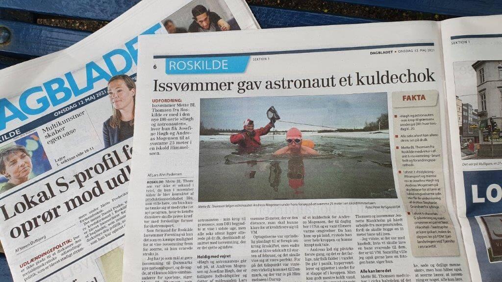 Coaching i isvand i Himmelsøen - artikel i Dagbladet Roskilde